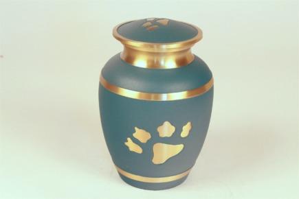 Urna verde scuro a forma di vaso con rifiniture dorate