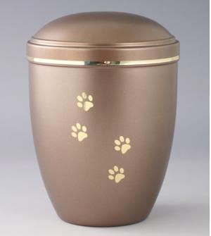 Urna a forma cilindrica media marroncino chiaro con decorazioni dorate