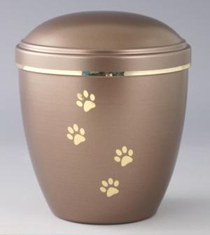 Urna a forma cilindrica larga marroncino chiaro con decorazioni dorate