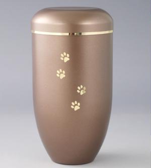 Urna a forma cilindrica stretta marroncino chiaro con decorazioni dorate
