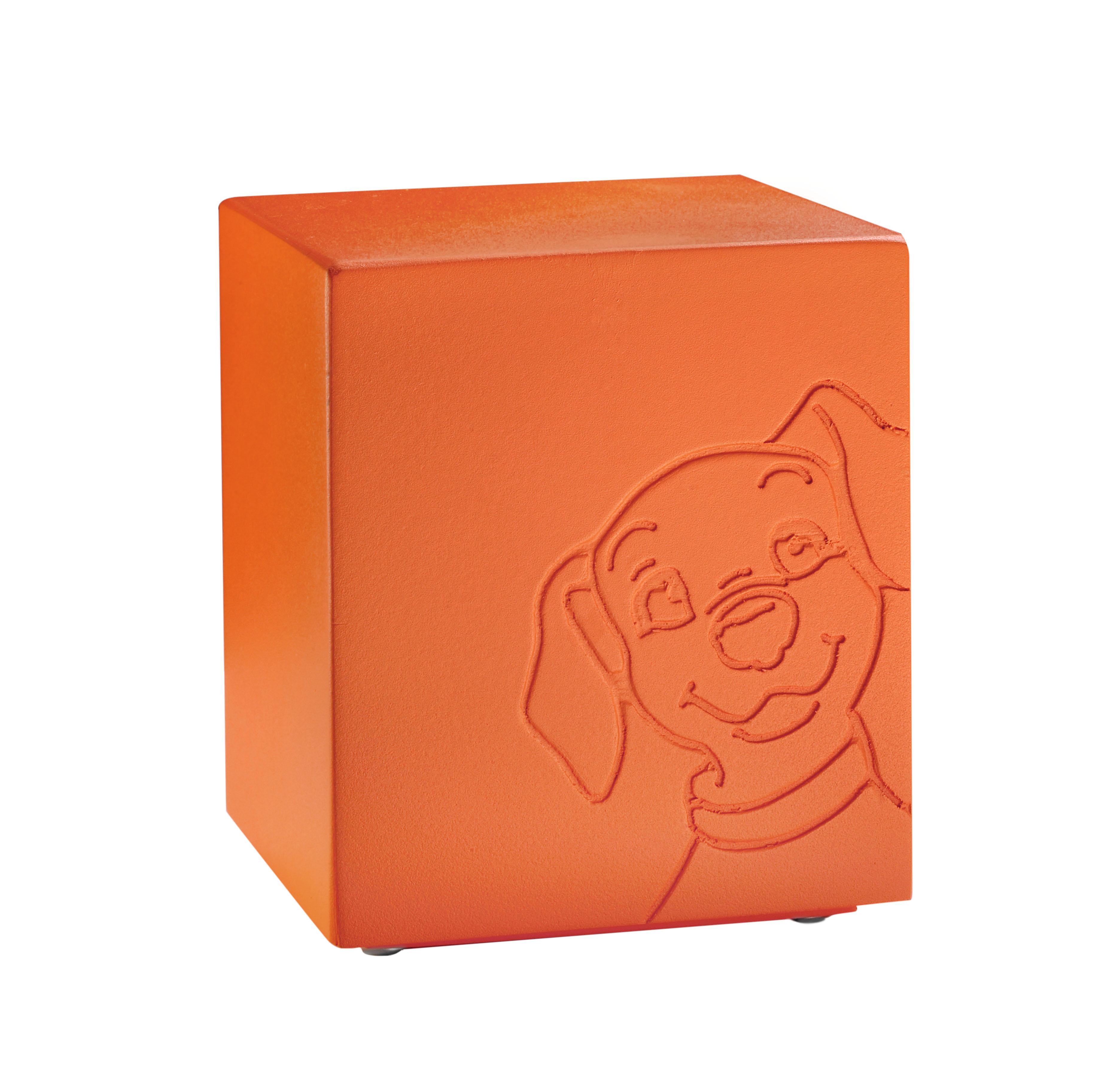 Urna colore arancio con decorazione cane