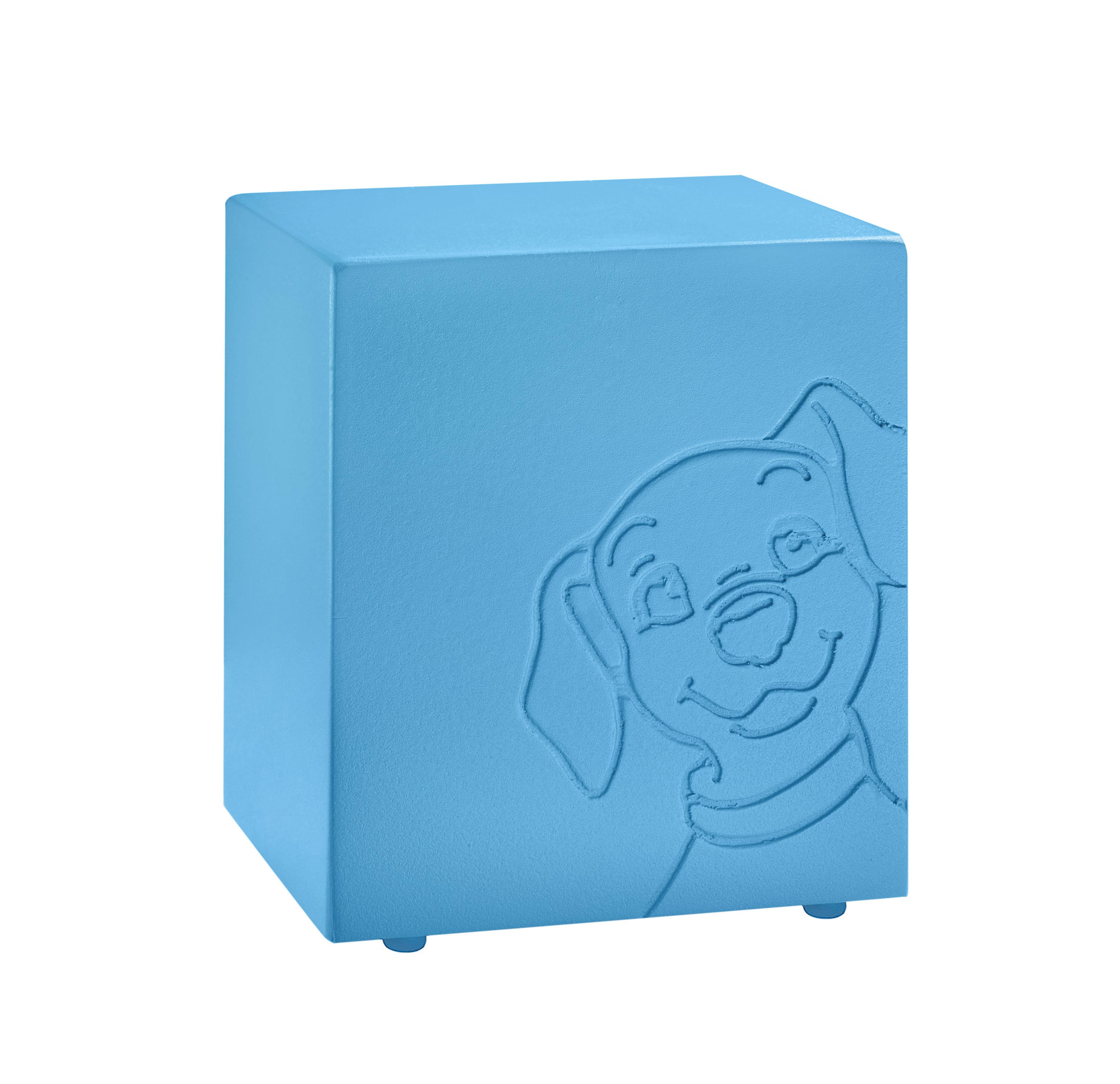 Urna colore azzurra con decorazione cane