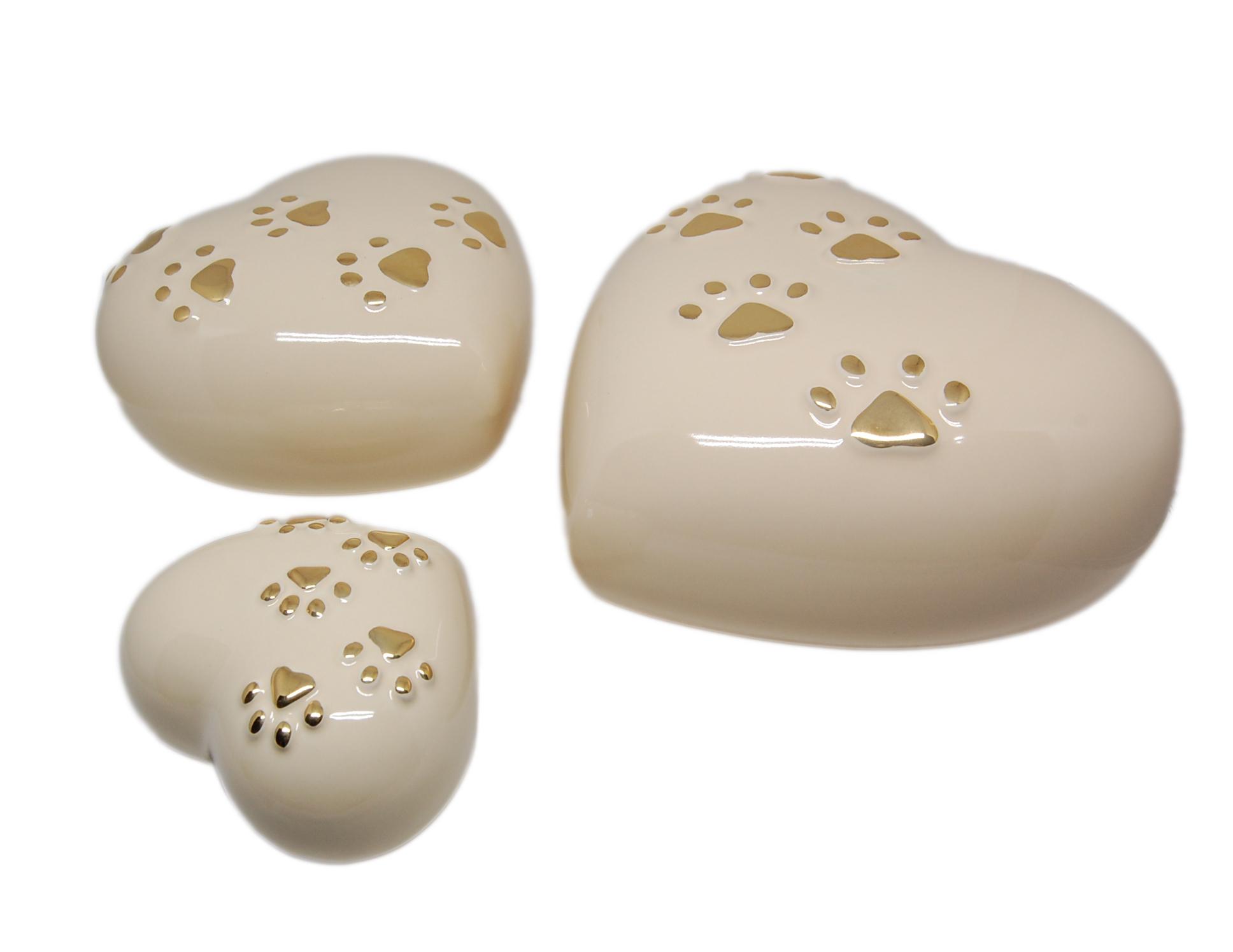 Urna cuore in ceramica colore bianco