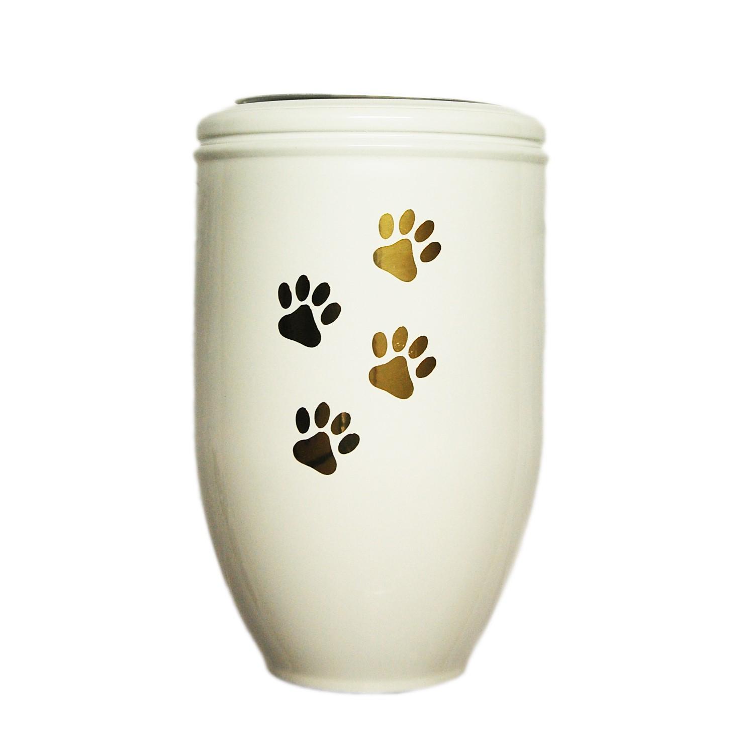 Urne in metallo colore bianco forma vaso