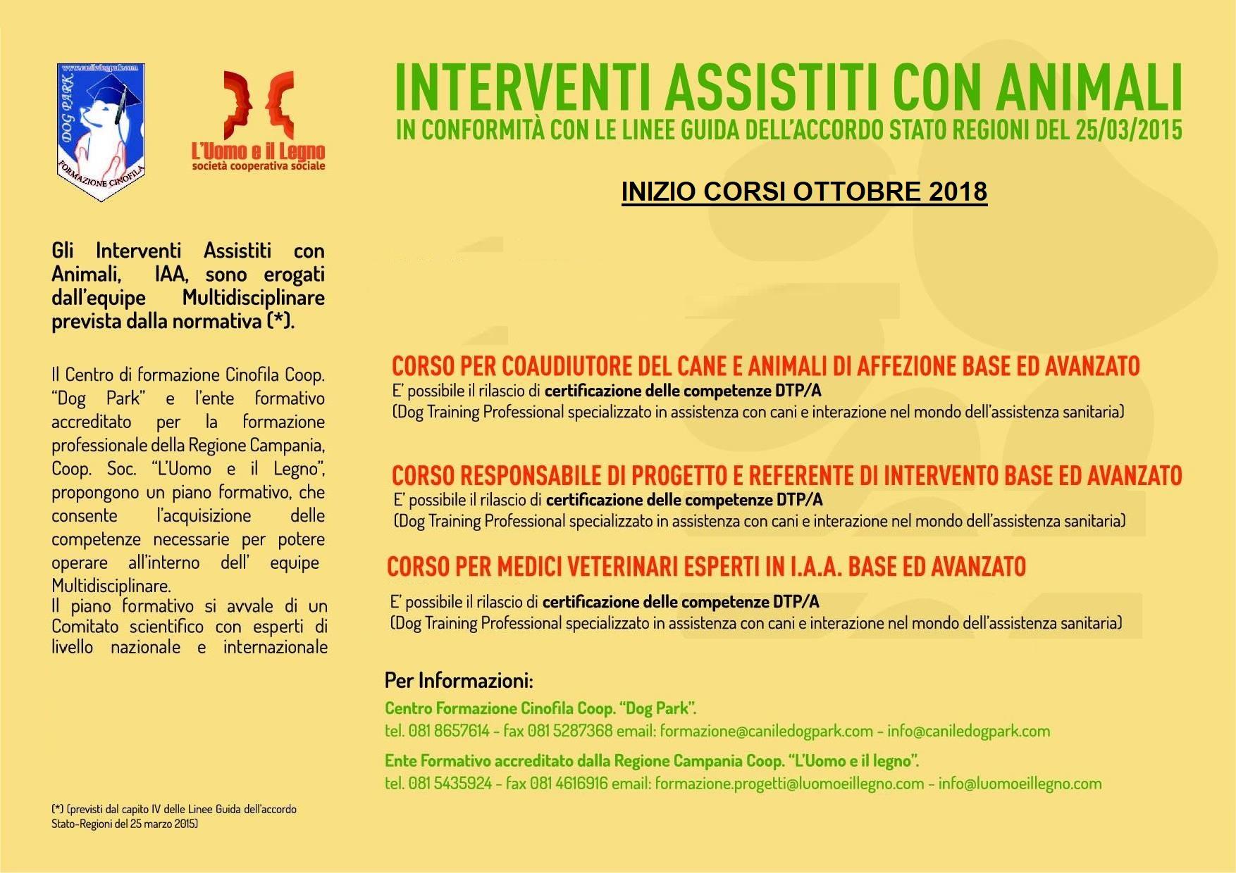 CORSO  BASE/AVANZATO PER RESPONSABILE DI PROGETTO E REFERENTE DI INTERVENTO TAA/EAA