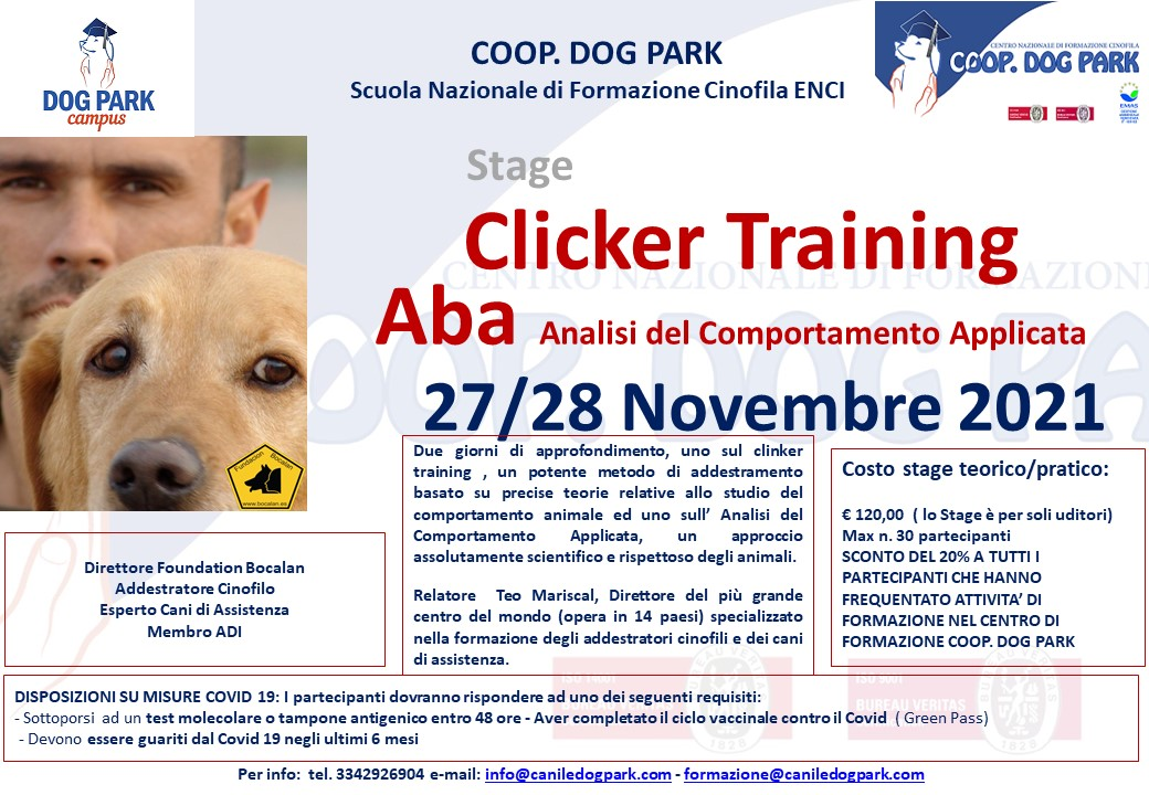 Clicker Training e ABA (Analisi Comportamento Applicata) con Teo Mariscal
