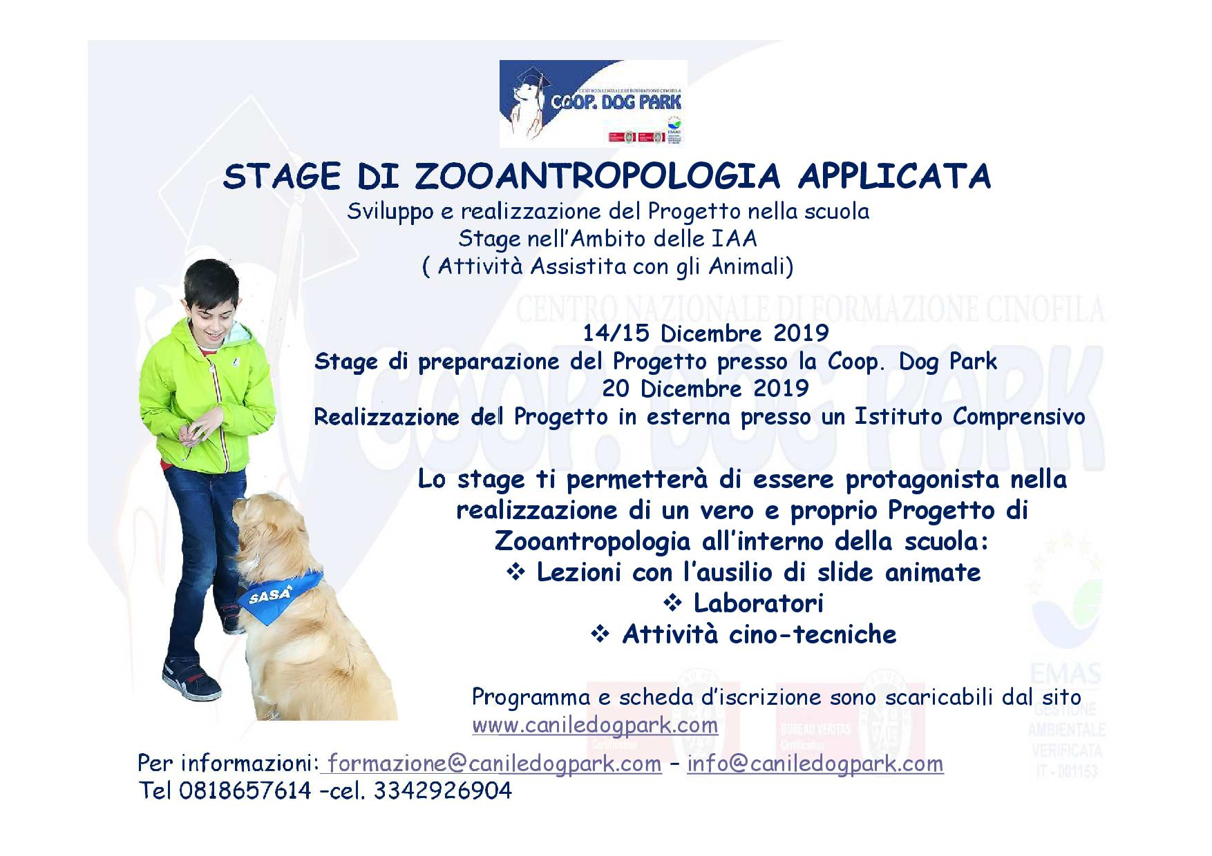STAGE ZOOANTROPOLOGIA